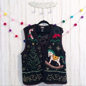 Jackets & Blazers - Knit embroidered beaded xmas sweater vest